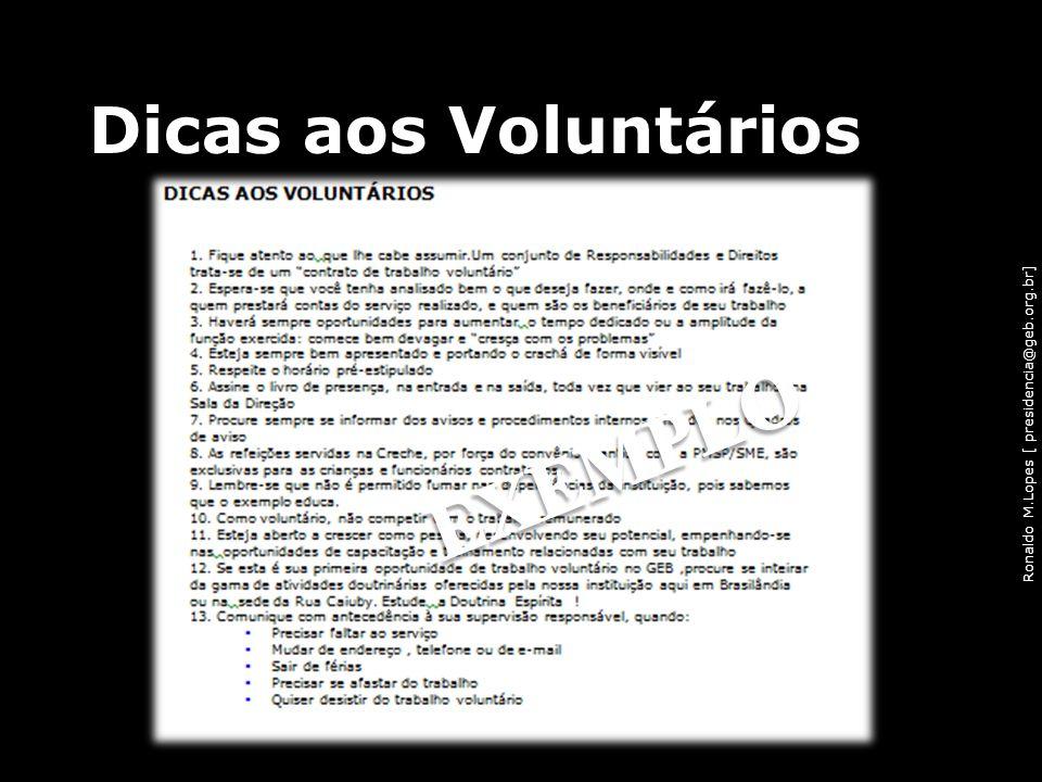 Dicas aos Voluntários EXEMPLO