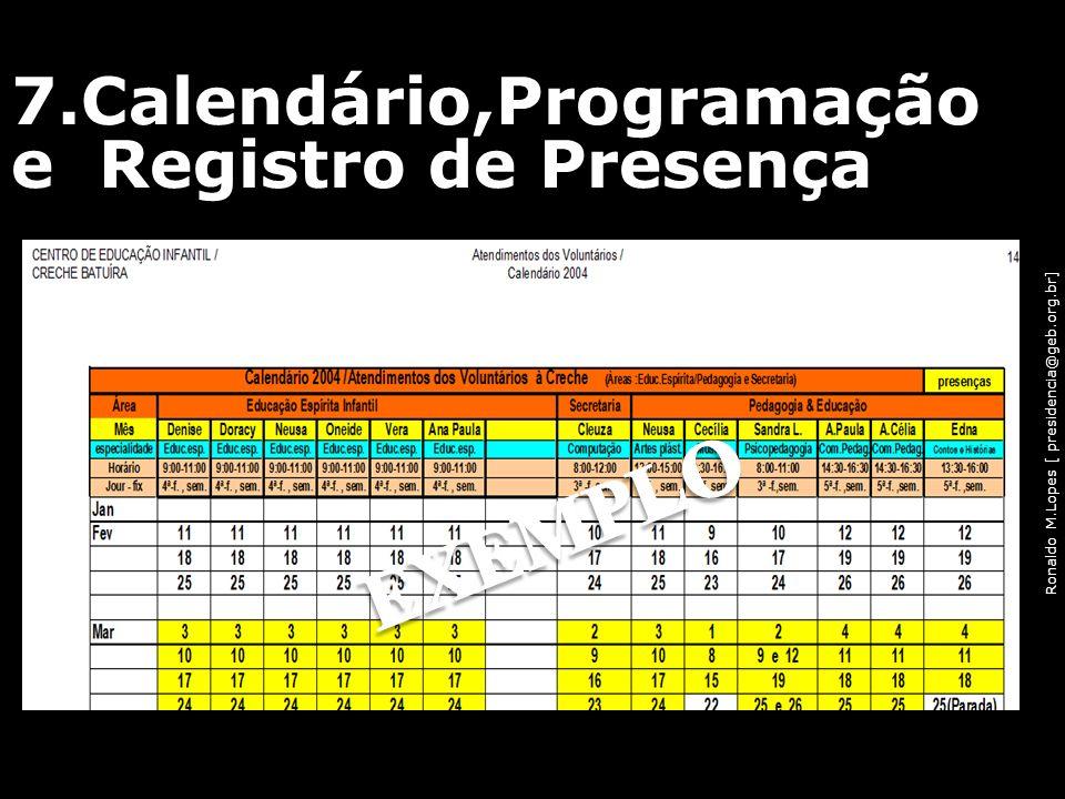 7.Calendário,Programação e Registro de Presença
