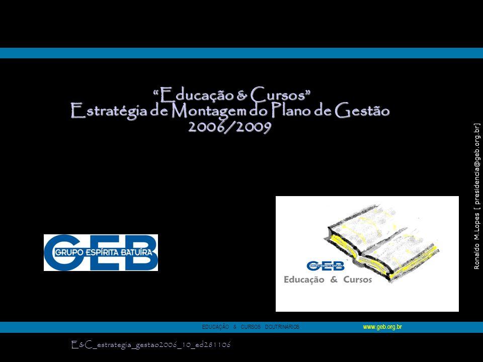 Estratégia de Montagem do Plano de Gestão 2006/2009