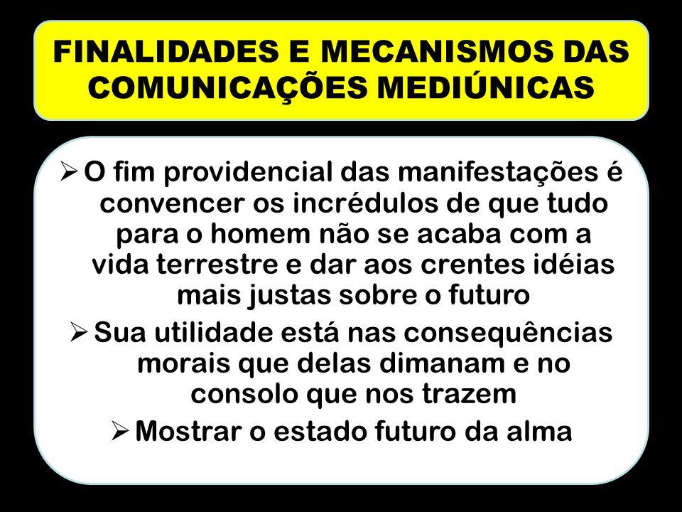 FINALIDADES E MECANISMOS DAS COMUNICAÇÕES MEDIÚNICAS