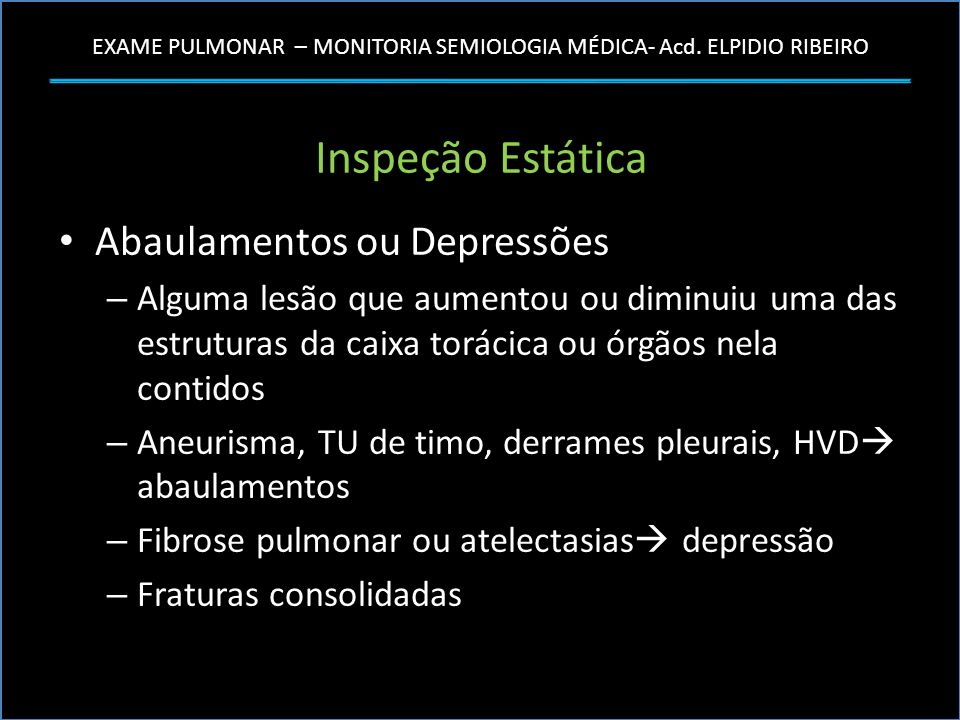 Inspeção Estática Abaulamentos ou Depressões