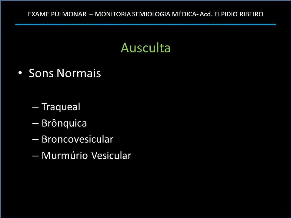Ausculta Sons Normais Traqueal Brônquica Broncovesicular