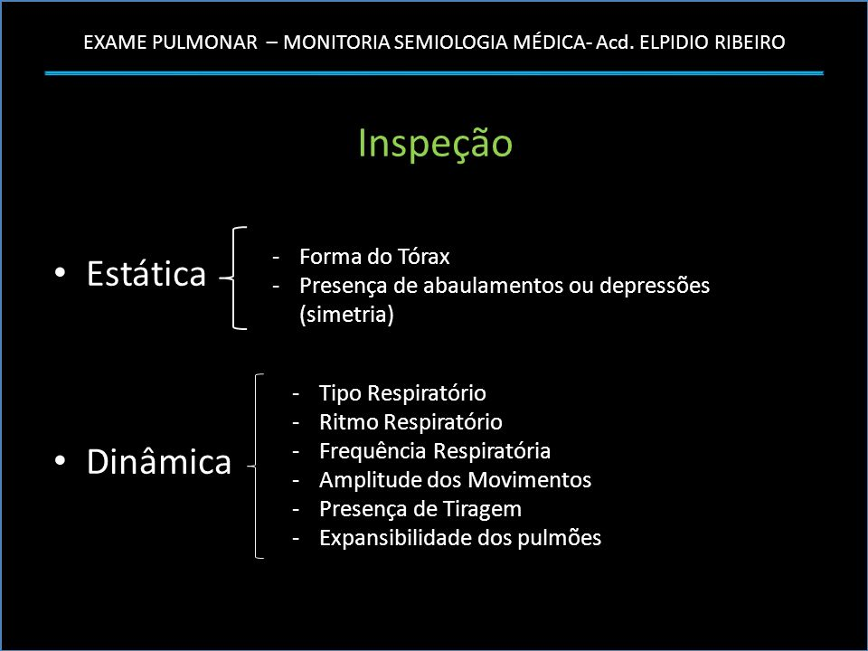 Inspeção Estática Dinâmica Forma do Tórax