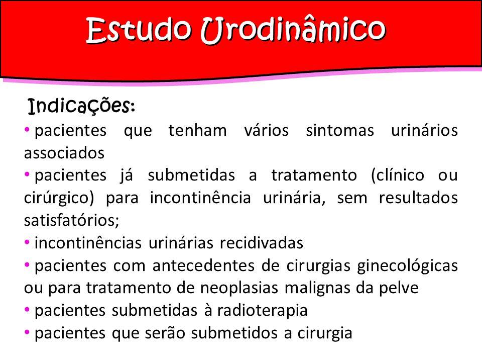 Estudo Urodinâmico Indicações: