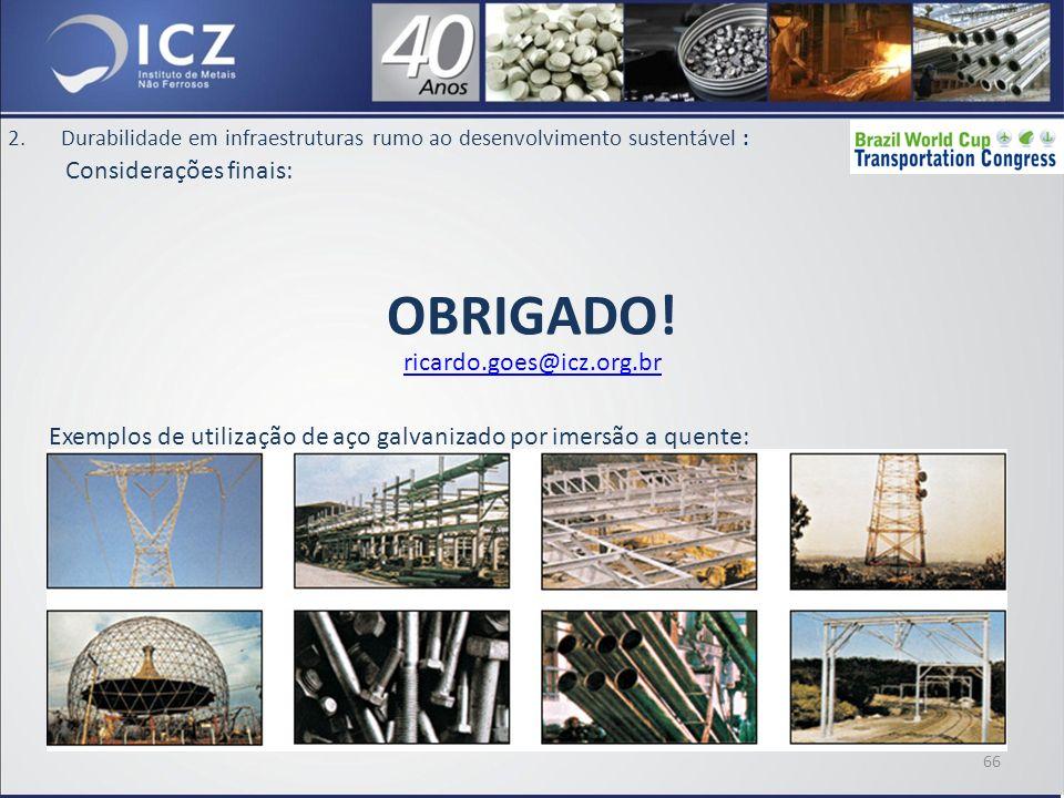 OBRIGADO! Considerações finais: ricardo.goes@icz.org.br