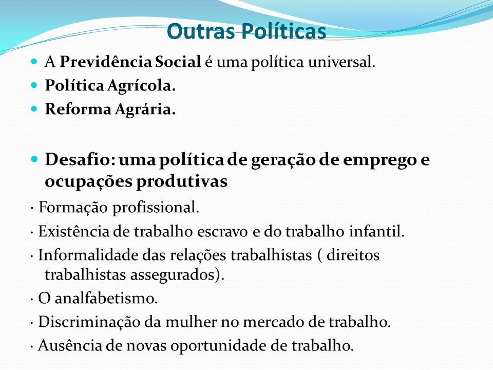 Outras Políticas A Previdência Social é uma política universal. Política Agrícola. Reforma Agrária.