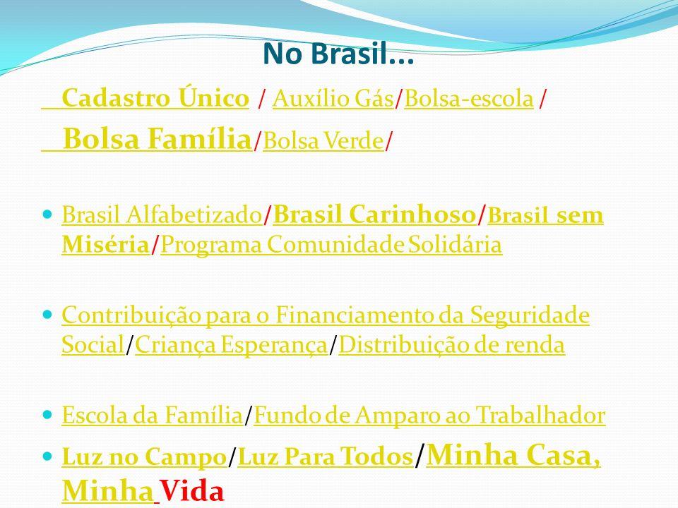 No Brasil... Bolsa Família/Bolsa Verde/