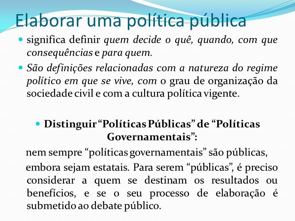Elaborar uma política pública