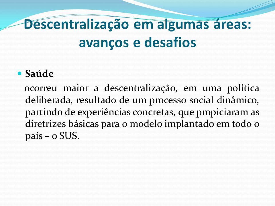 Descentralização em algumas áreas: avanços e desafios