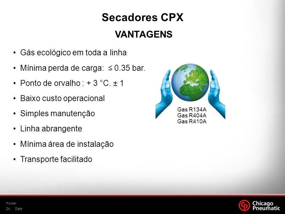 Secadores CPX VANTAGENS Gás ecológico em toda a linha