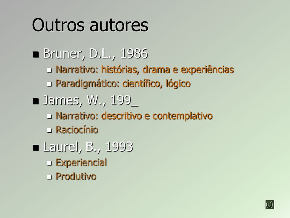 Outros autores Bruner, D.L., 1986 James, W., 199_ Laurel, B., 1993