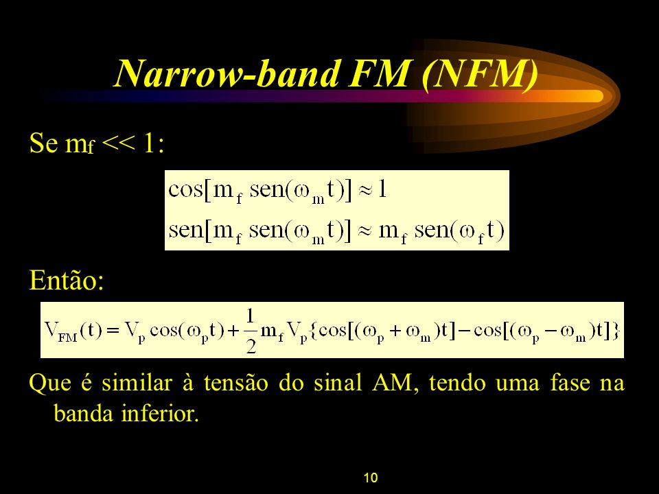 Narrow-band FM (NFM) Se mf << 1: Então: