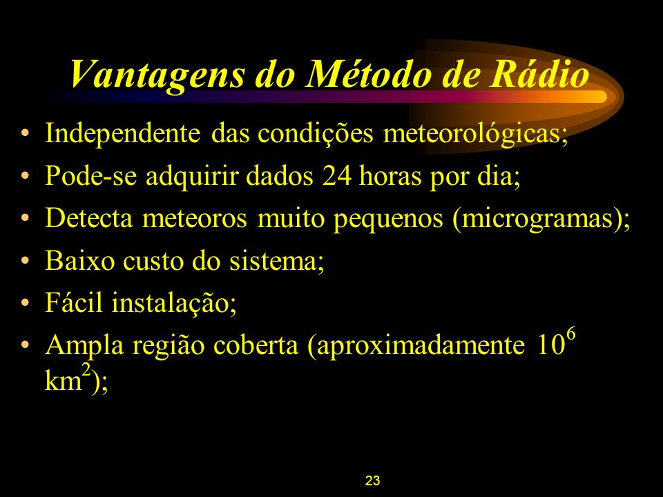 Vantagens do Método de Rádio