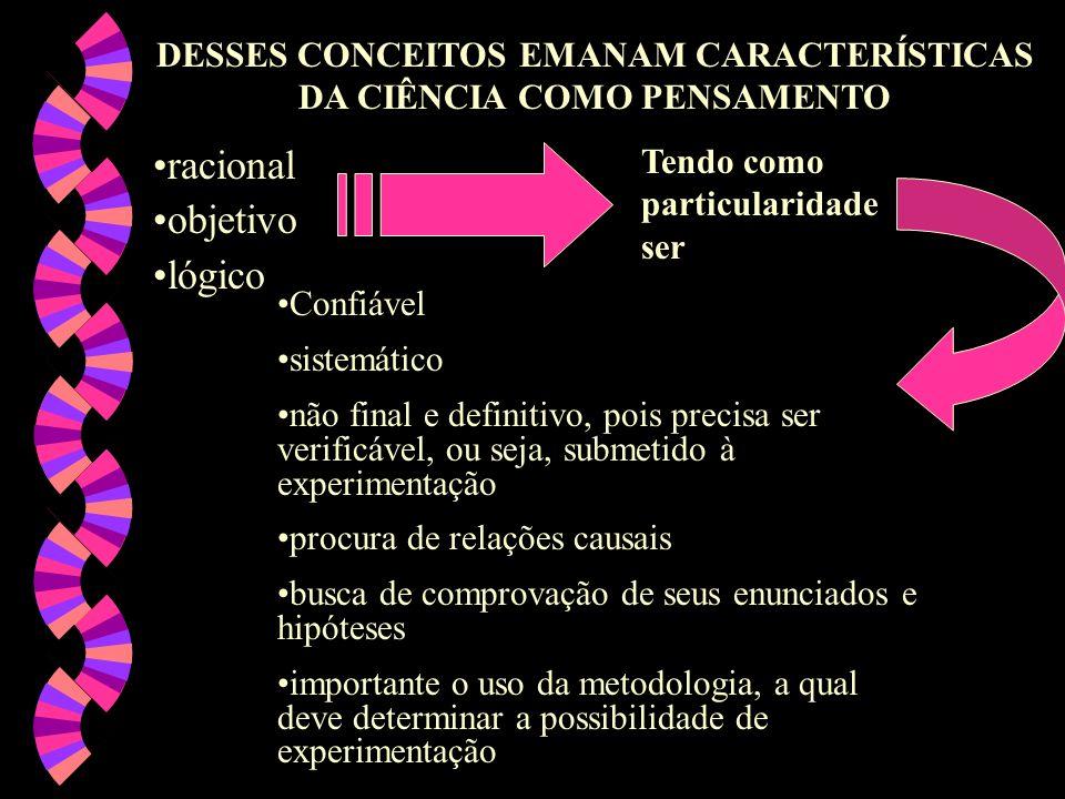 DESSES CONCEITOS EMANAM CARACTERÍSTICAS DA CIÊNCIA COMO PENSAMENTO