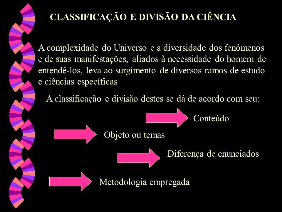 A classificação e divisão destes se dá de acordo com seu: