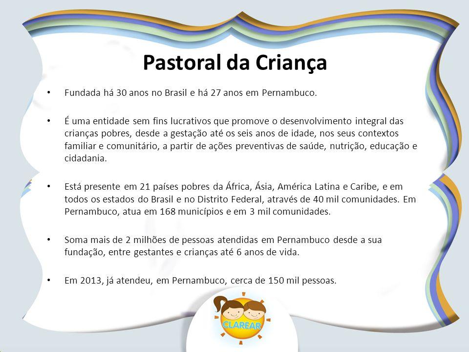 Pastoral da Criança Fundada há 30 anos no Brasil e há 27 anos em Pernambuco.