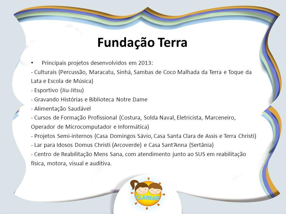 Fundação Terra Principais projetos desenvolvidos em 2013: