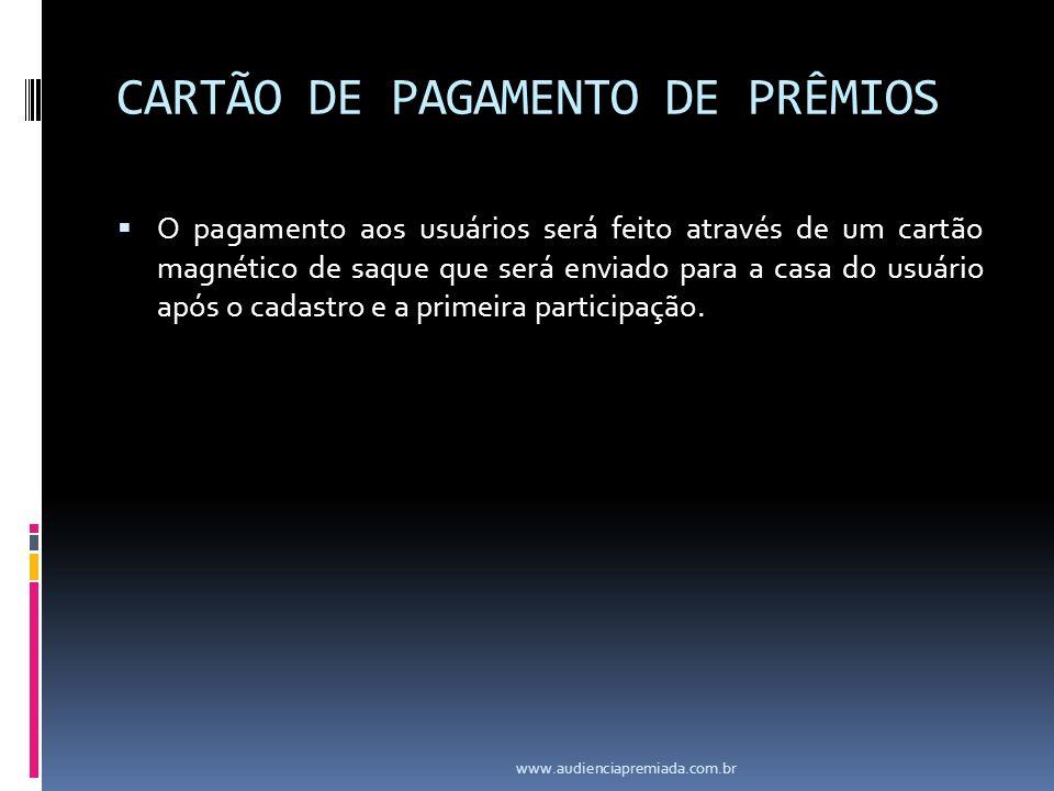 CARTÃO DE PAGAMENTO DE PRÊMIOS