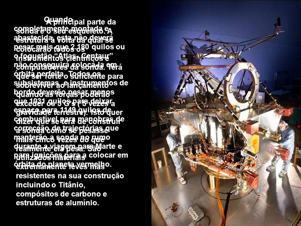Quando completamente montada e abastecida, esta não deverá pesar mais que 2.180 quilos ou o foguetão Atlas- Centaur não conseguirá colocá-la em órbita perfeita. Todos os subsistemas e instrumentos de bordo deverão pesar menos que 1031 quilos para deixar espaço para 1149 quilos de combustível para manobras de correcção de trajectórias que manterão a sonda no rumo durante a viagem para Marte e para ignições para a colocar em órbita do planeta vermelho.