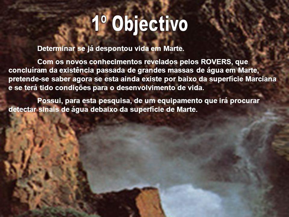 1º Objectivo Determinar se já despontou vida em Marte.