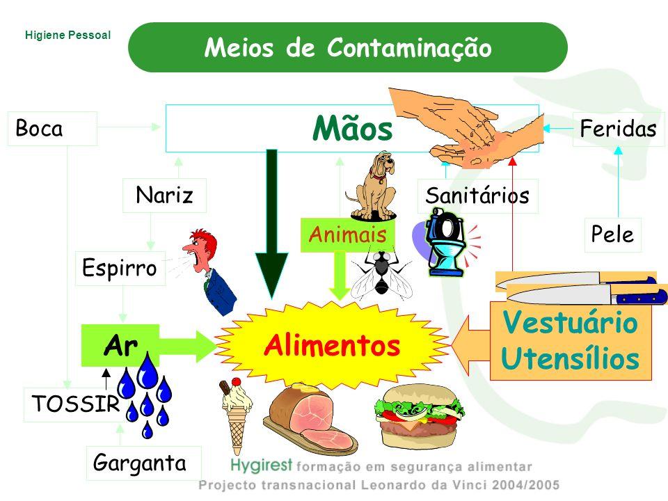 Mãos Vestuário Alimentos Utensílios Ar Meios de Contaminação Boca