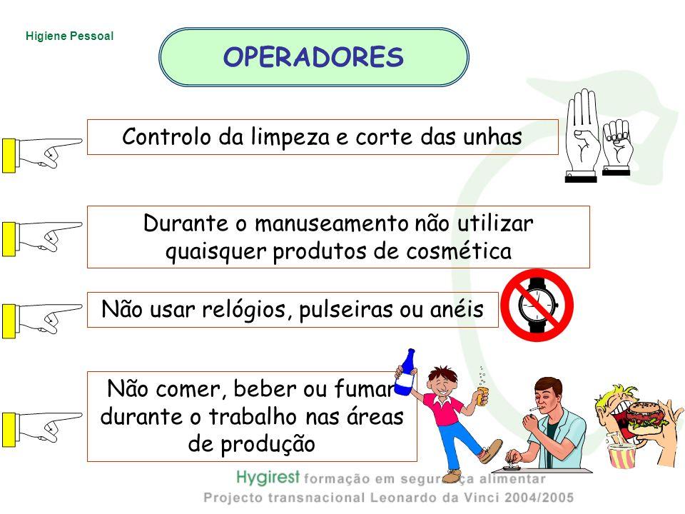 OPERADORES Controlo da limpeza e corte das unhas