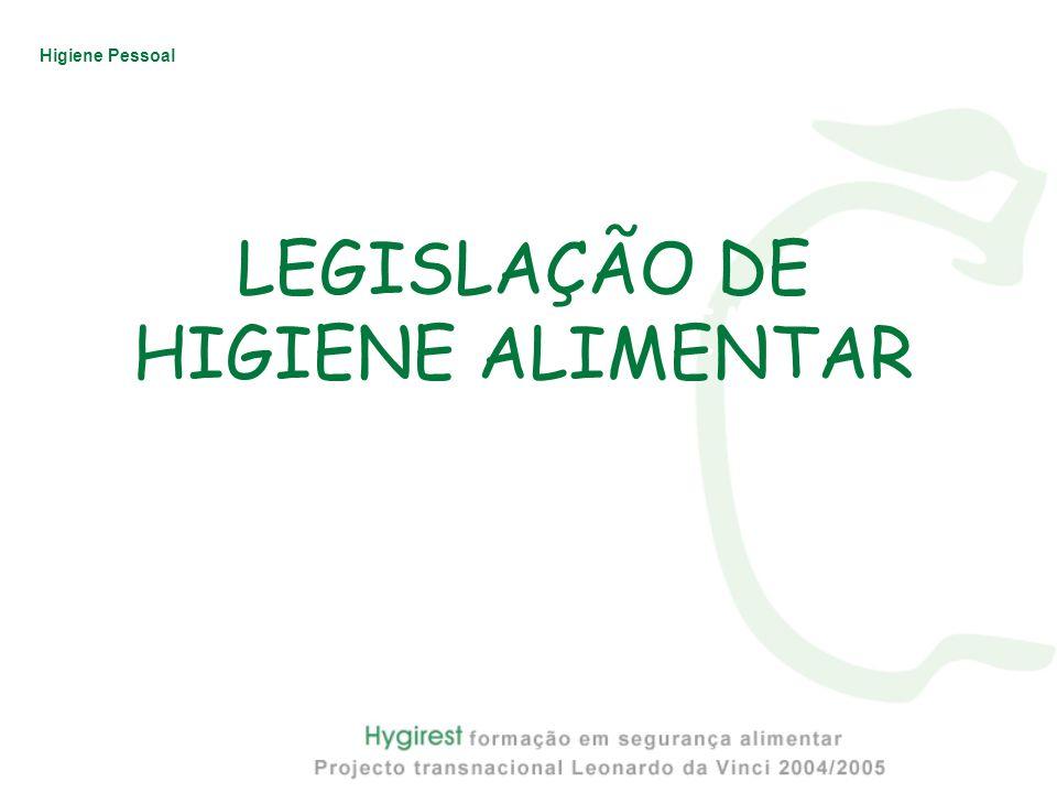 LEGISLAÇÃO DE HIGIENE ALIMENTAR
