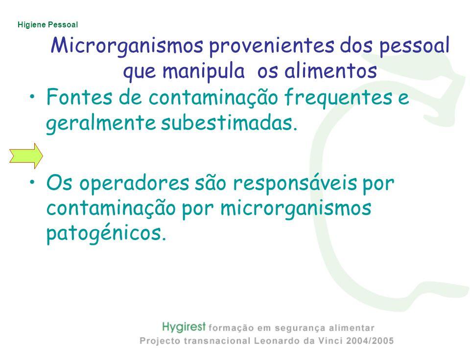 Microrganismos provenientes dos pessoal que manipula os alimentos