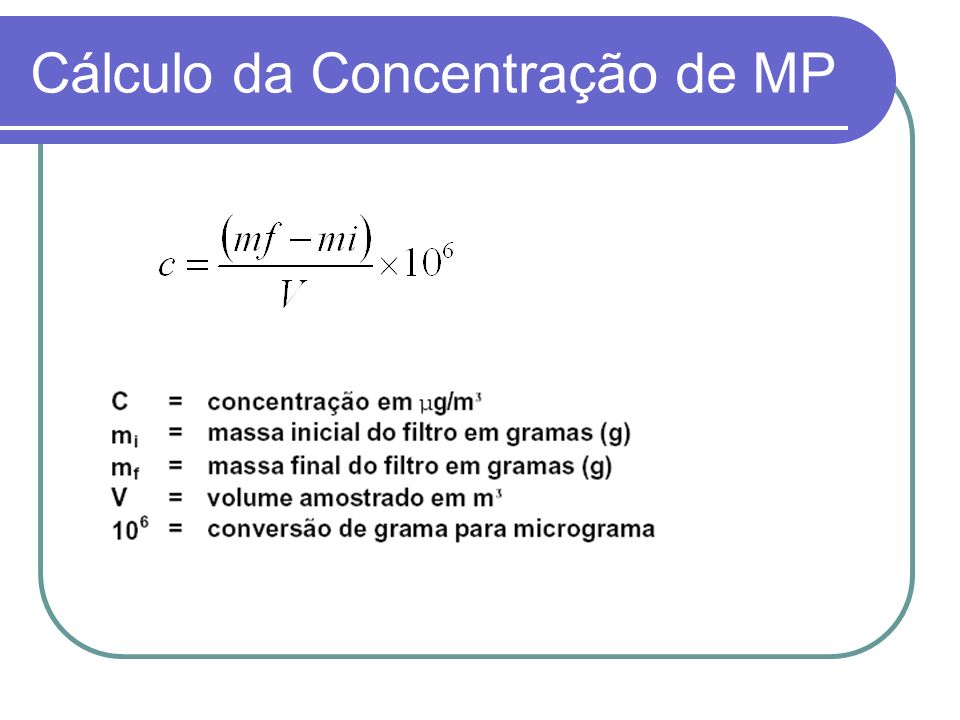 Cálculo da Concentração de MP