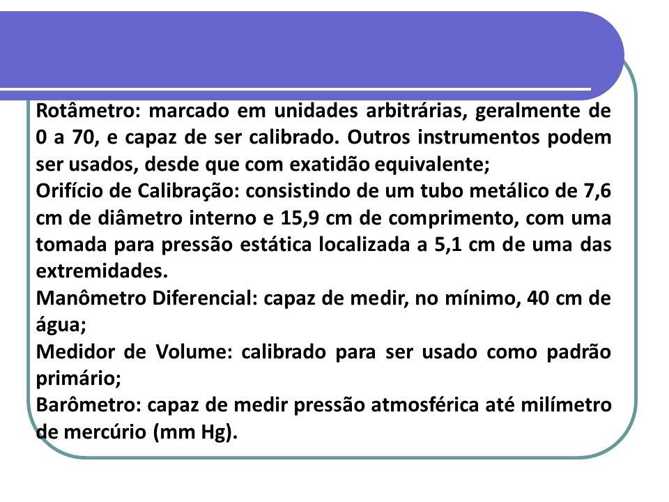Rotâmetro: marcado em unidades arbitrárias, geralmente de 0 a 70, e capaz de ser calibrado. Outros instrumentos podem ser usados, desde que com exatidão equivalente;