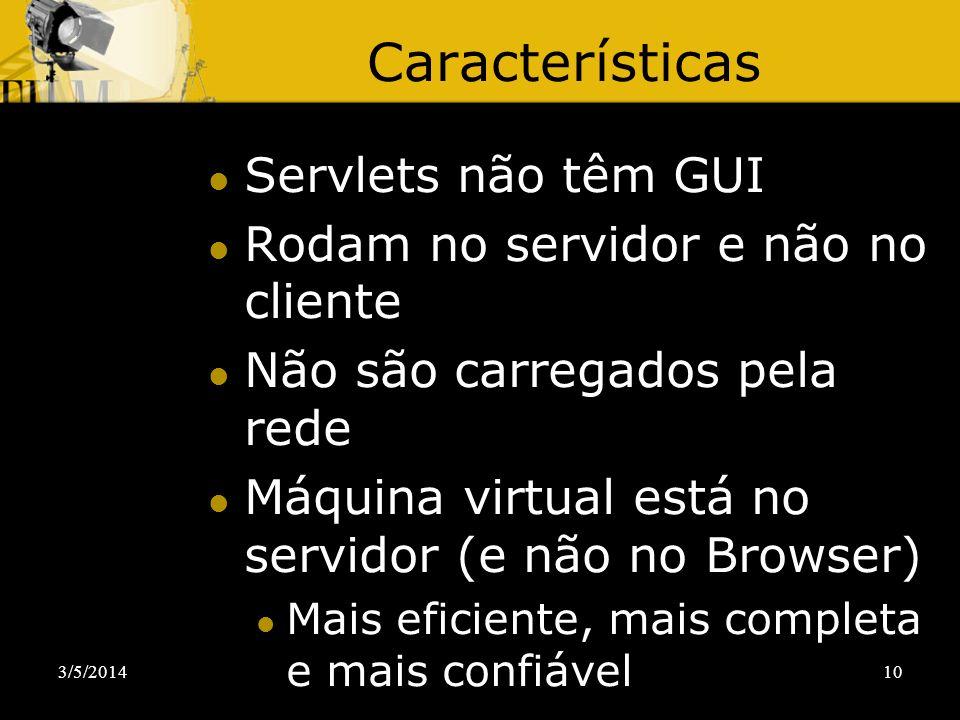 Características Servlets não têm GUI
