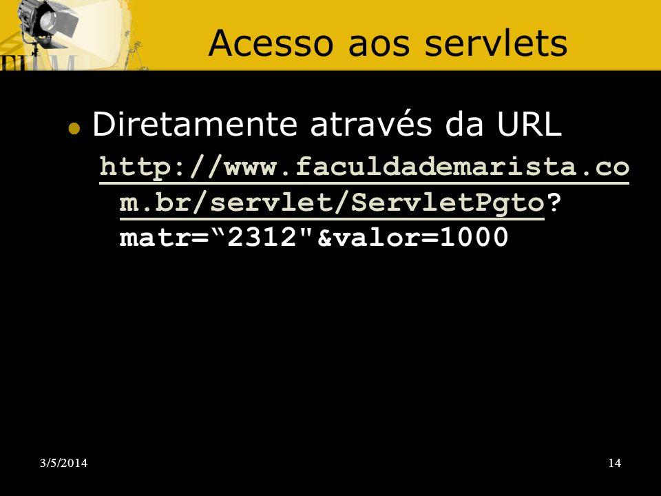 Acesso aos servlets Diretamente através da URL