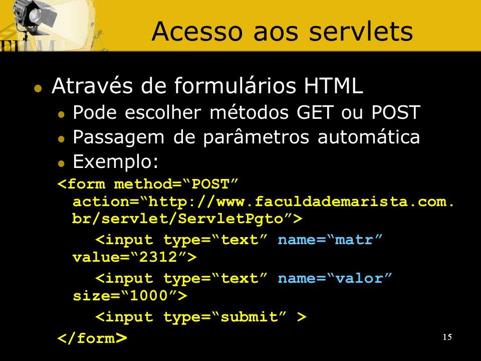 Acesso aos servlets Através de formulários HTML