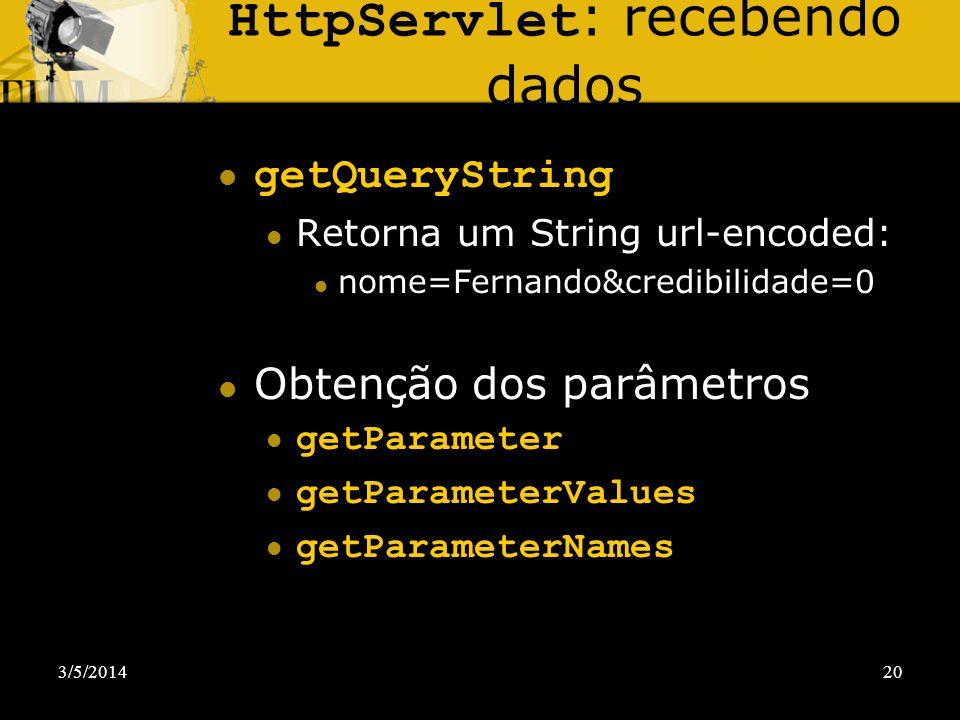 HttpServlet: recebendo dados