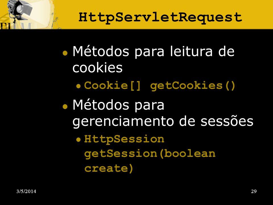 HttpServletRequest Métodos para leitura de cookies