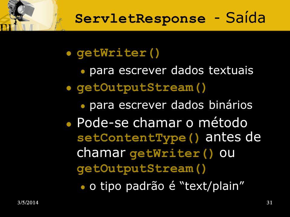 ServletResponse - Saída
