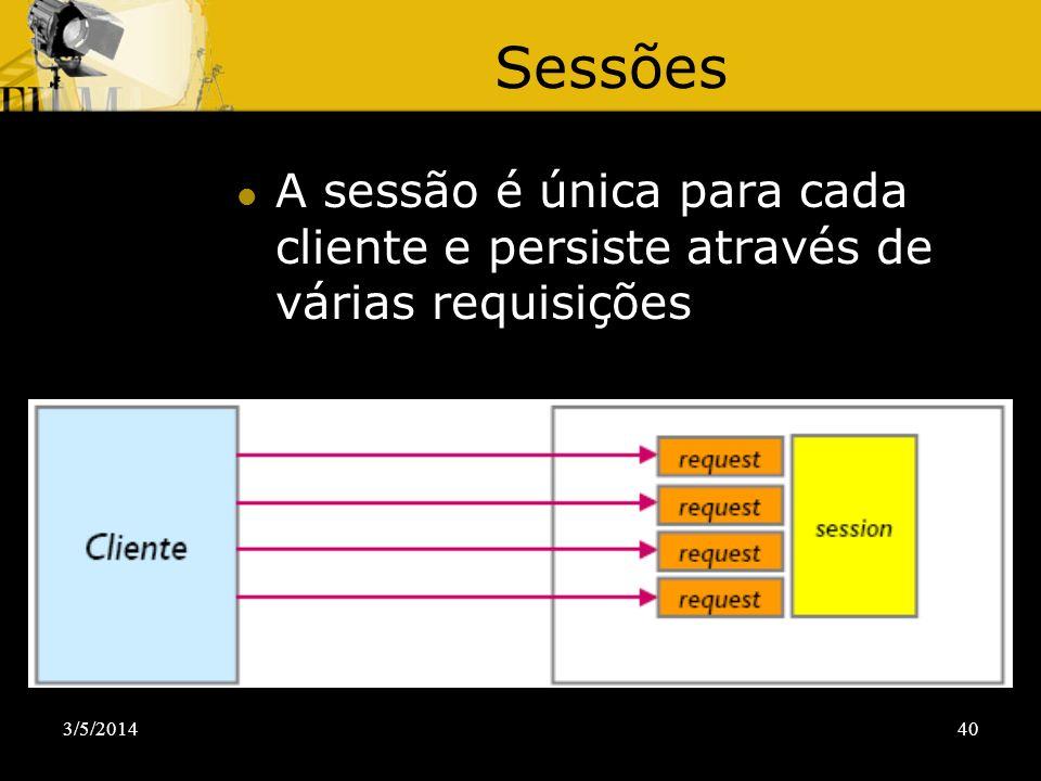 Sessões A sessão é única para cada cliente e persiste através de várias requisições 30/03/2017