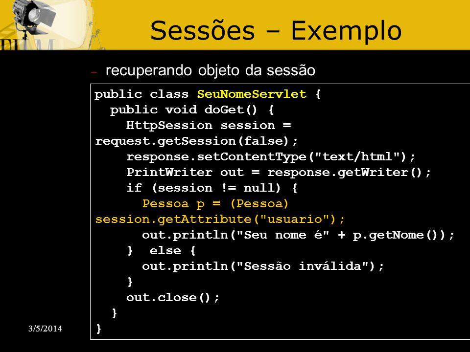 Sessões – Exemplo recuperando objeto da sessão