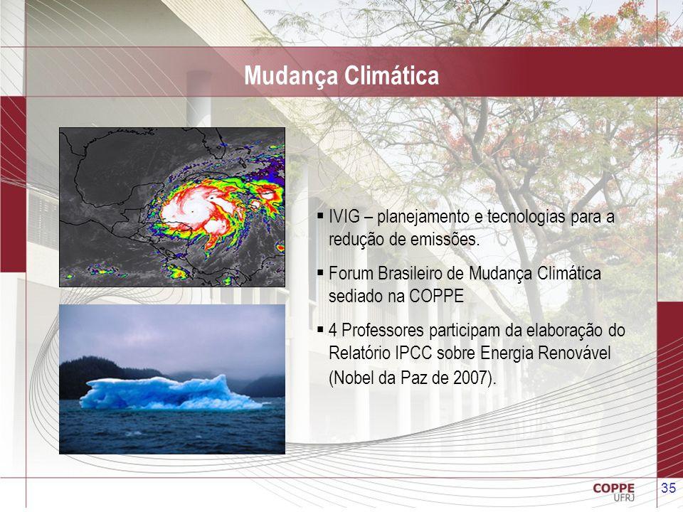 Mudança Climática IVIG – planejamento e tecnologias para a redução de emissões. Forum Brasileiro de Mudança Climática sediado na COPPE.