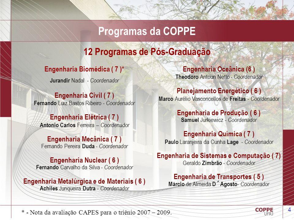 Programas da COPPE 12 Programas de Pós-Graduação