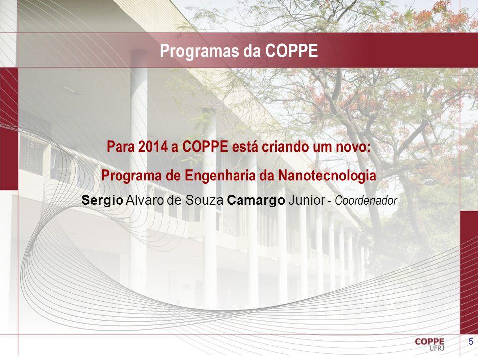Programas da COPPE Para 2014 a COPPE está criando um novo: