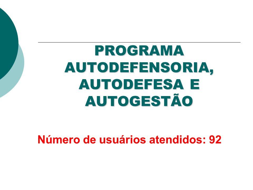 PROGRAMA AUTODEFENSORIA, AUTODEFESA E AUTOGESTÃO