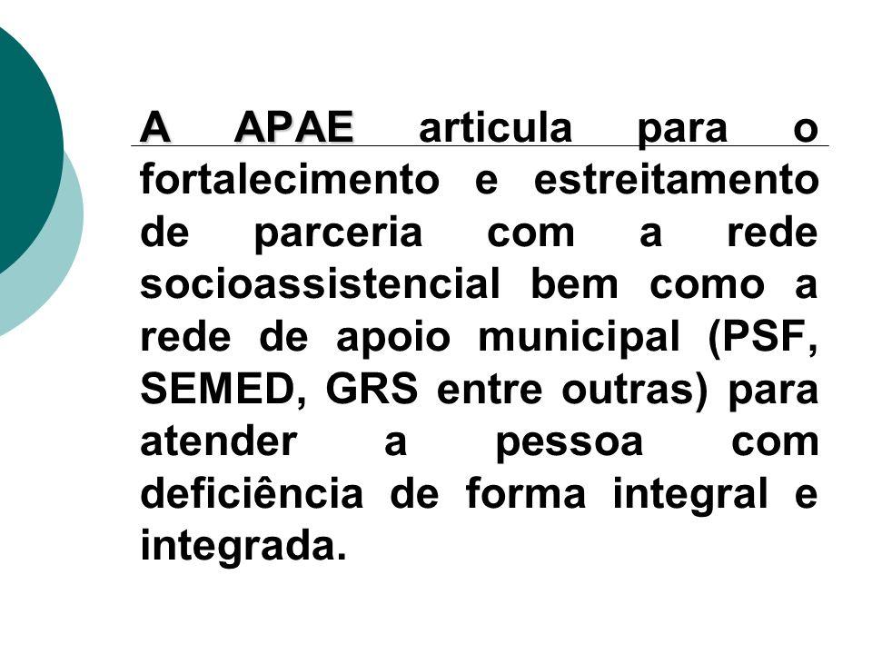 A APAE articula para o fortalecimento e estreitamento de parceria com a rede socioassistencial bem como a rede de apoio municipal (PSF, SEMED, GRS entre outras) para atender a pessoa com deficiência de forma integral e integrada.