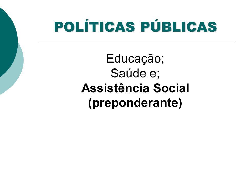 POLÍTICAS PÚBLICAS Educação; Saúde e; Assistência Social (preponderante)