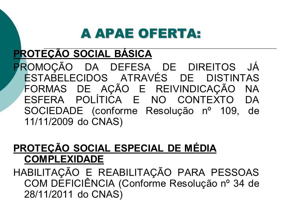 A APAE OFERTA: PROTEÇÃO SOCIAL BÁSICA