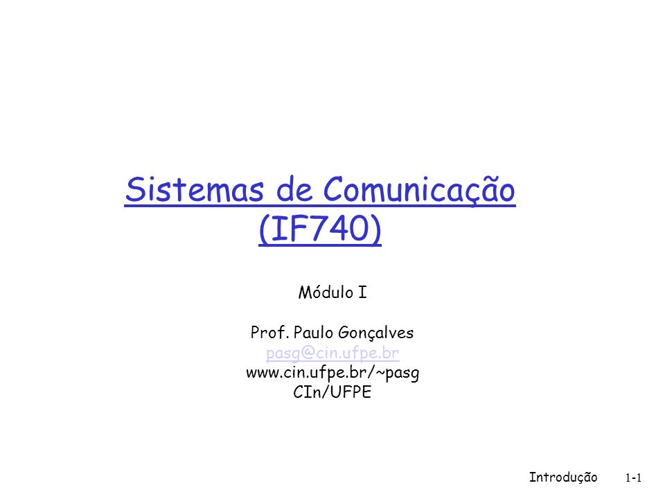 Sistemas de Comunicação (IF740)