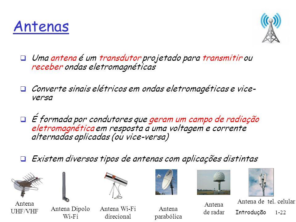 Antenas Uma antena é um transdutor projetado para transmitir ou receber ondas eletromagnéticas.