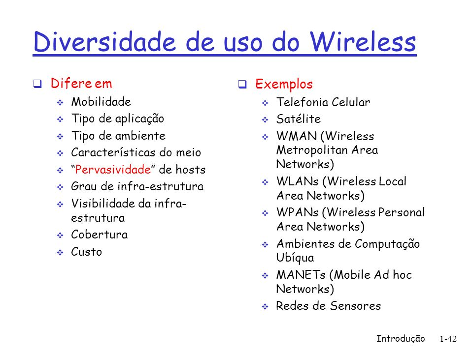 Diversidade de uso do Wireless
