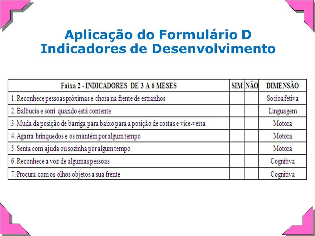 Aplicação do Formulário D Indicadores de Desenvolvimento