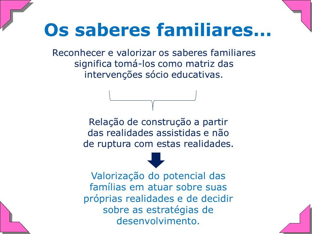 Os saberes familiares... Reconhecer e valorizar os saberes familiares significa tomá-los como matriz das intervenções sócio educativas.